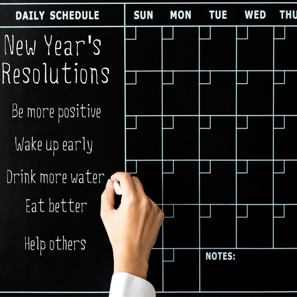 be more positive, new year resolution, wake up early, drink more water, eat better, help others